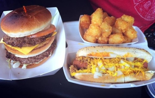 Poor Boy burger, Tots, and Chili Cheese Dog