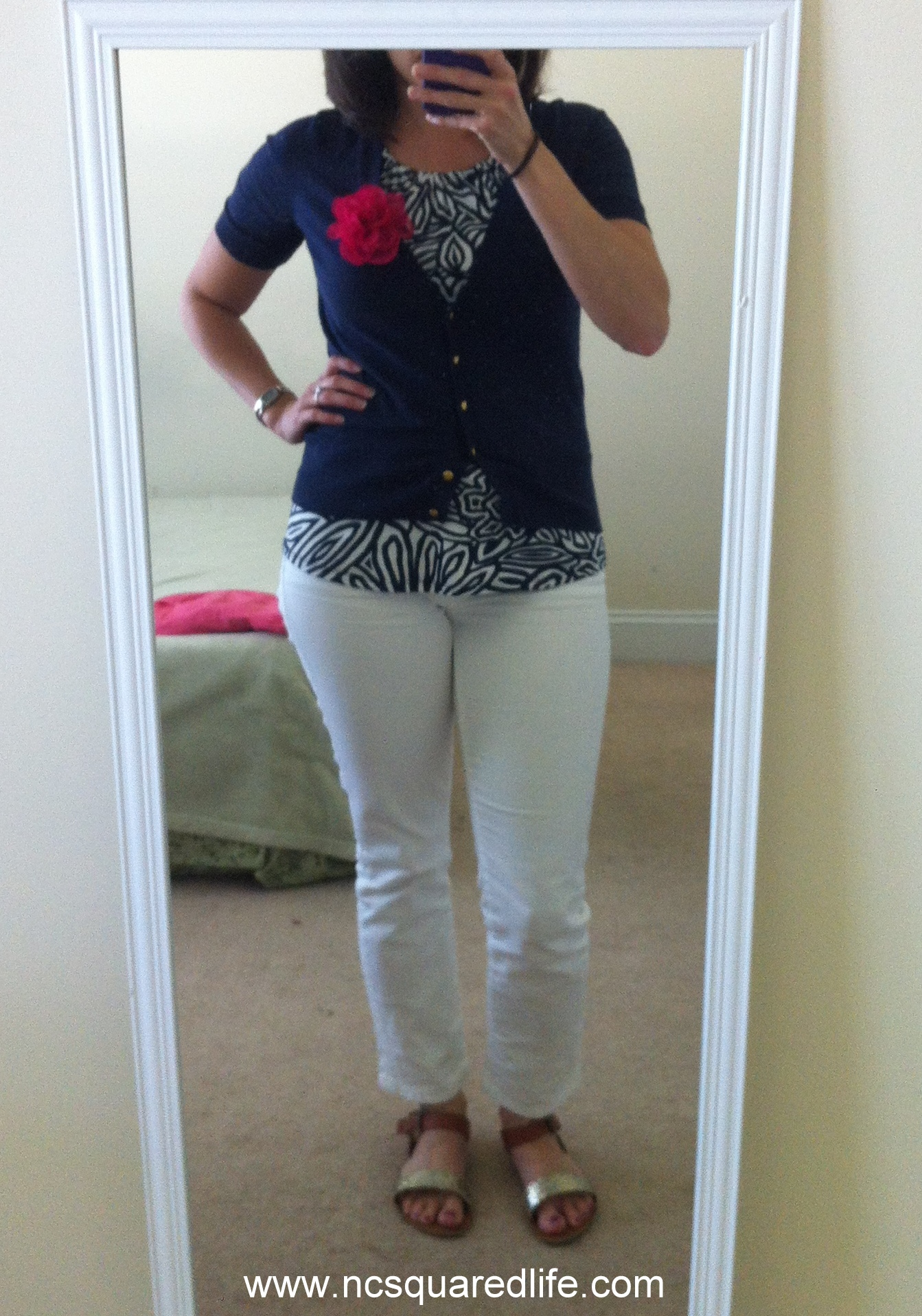 white jeans, patterned navy halter, navy cardigan, pink flower | NCsquared Life