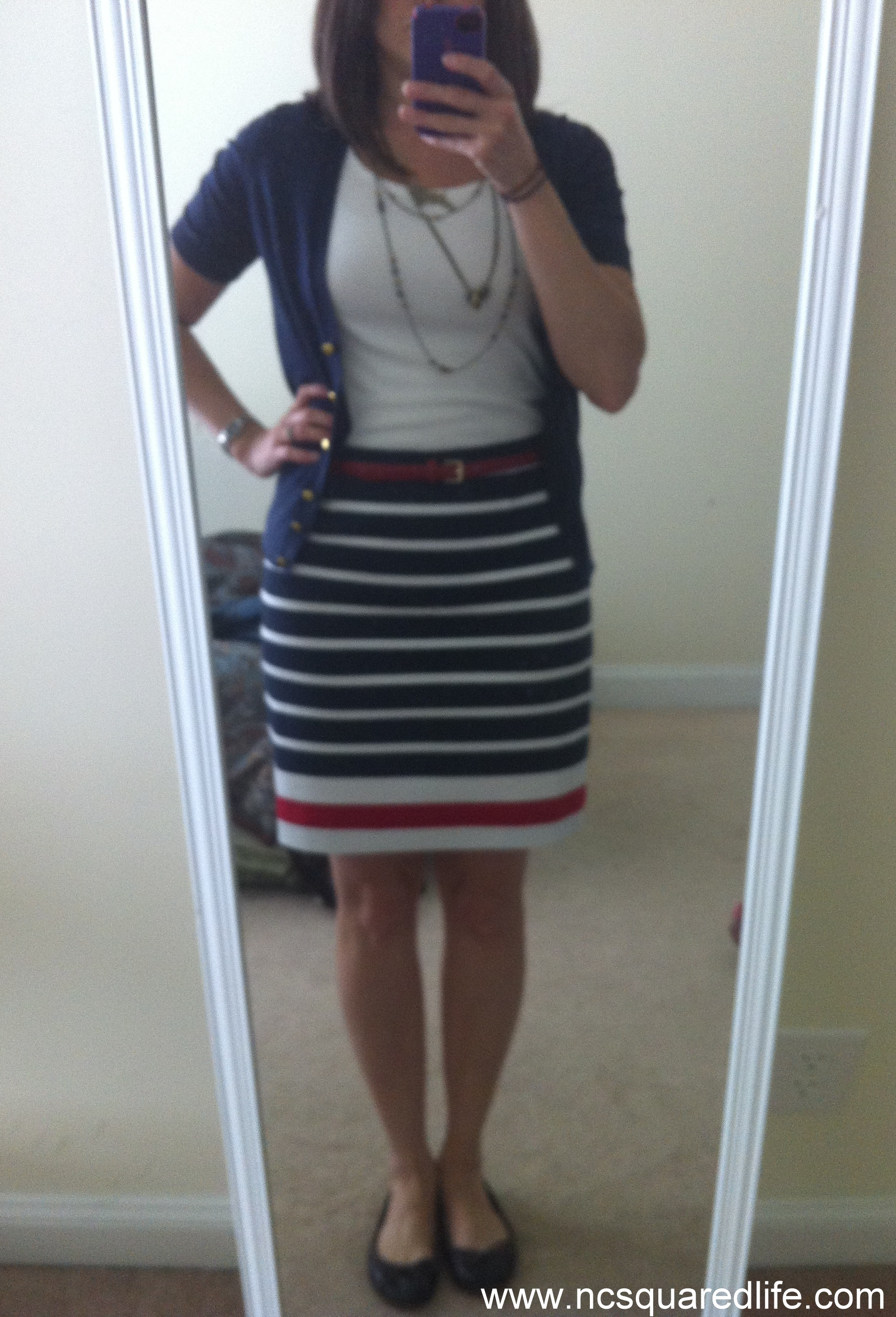 navy cardigan, navy + red stripe ponte pencil skirt | NCsquared Life