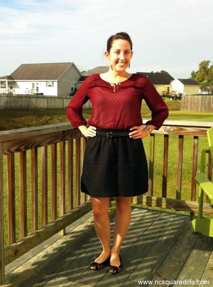 maroon sheer blouse, black shirt, leopard flats | NCsquared Life
