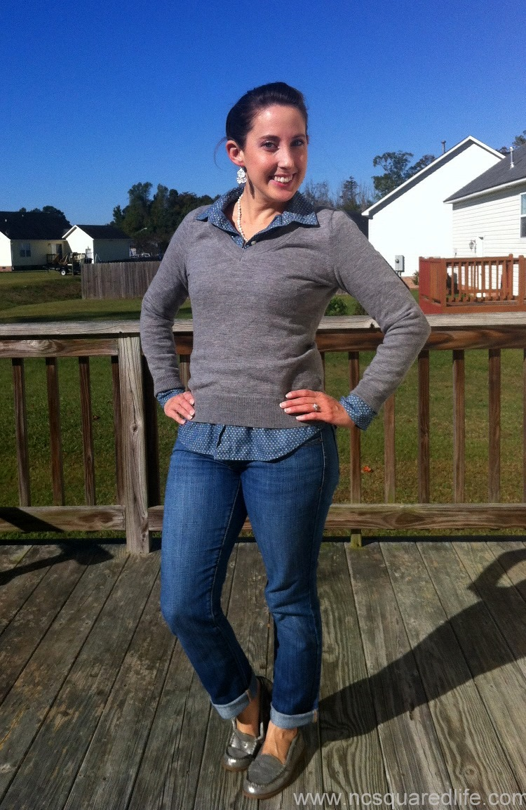 gray sweater, polka dot chambray, silver loafers | NCsquared Life