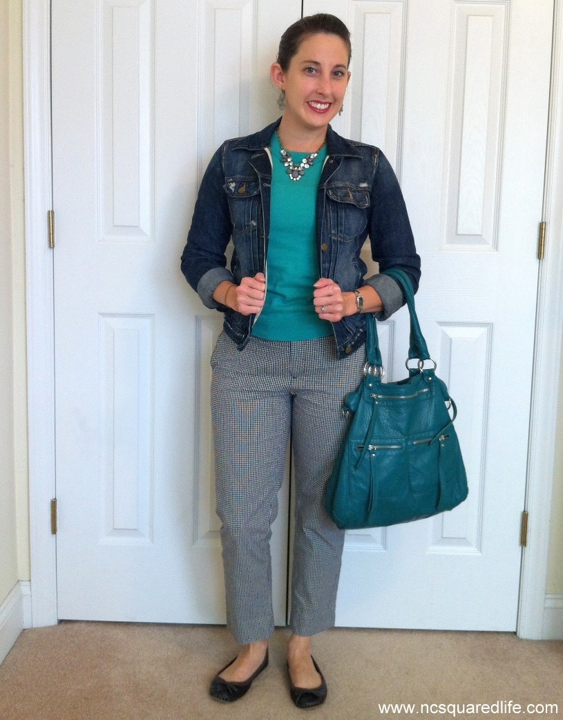 denim jacket, gingham pants, green purse, green sweater | NCsquared Life