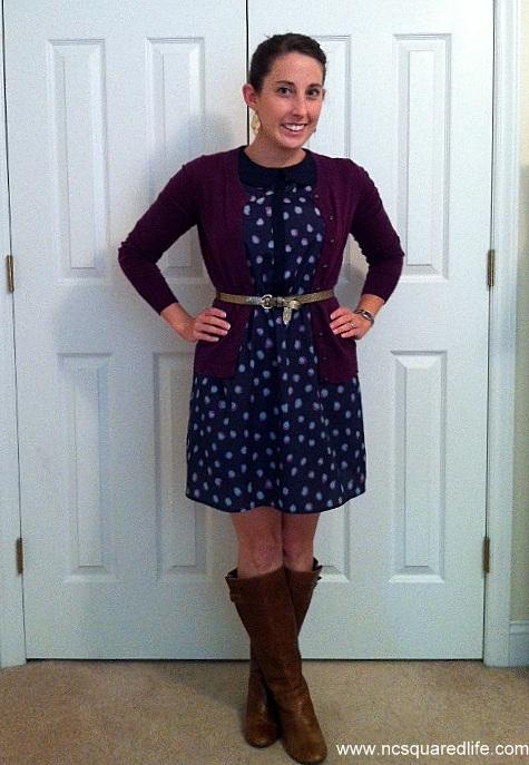 polka dot dress, plum cardigan, glitter belt, cognac boots | NCsquared Life