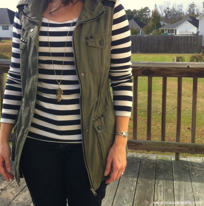 stripe longsleeve tee, military vest, feather necklace
