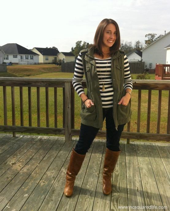 stripe tshirt, military vest, denim, cognac boots | NCsquared Life