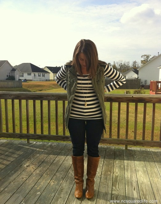 stripes vest cognac boots  feather necklace