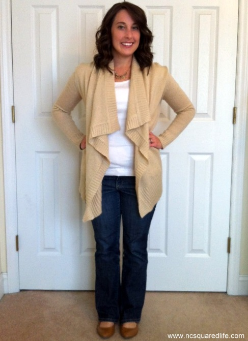 cardigan sweater, white top, cognac boots | NCsquared Life