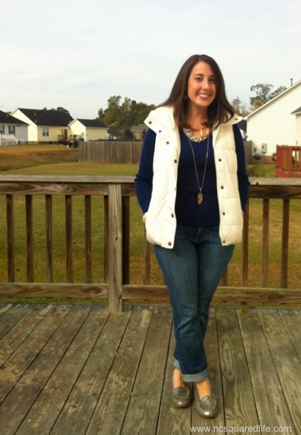 white vest, blue sweater, rolled jeans 2