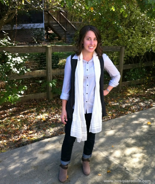 striped button-front, flowy vest, scarf and ankle boots (booties) | NCsquared Life