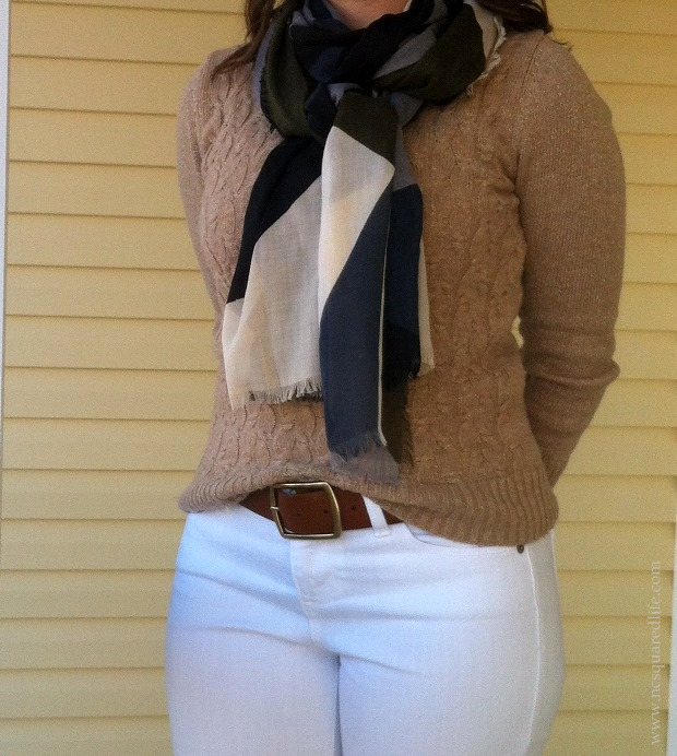 gold sweater, white pants, scarf   NCsquared Life