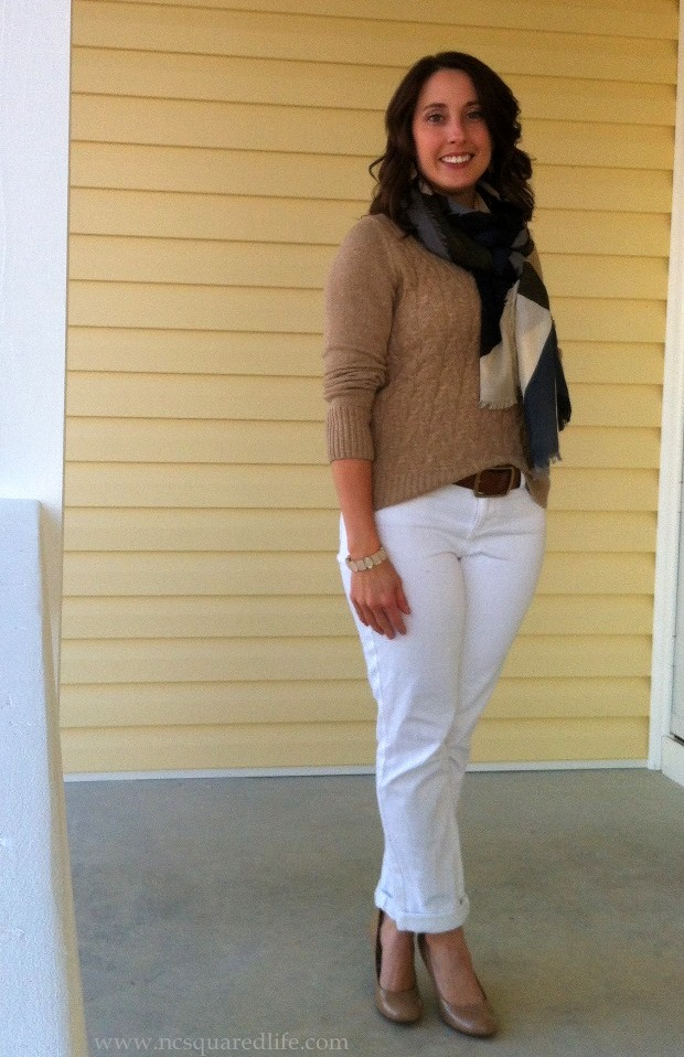gold sweater, white pants, nude heels, scarf   NCsquared Life
