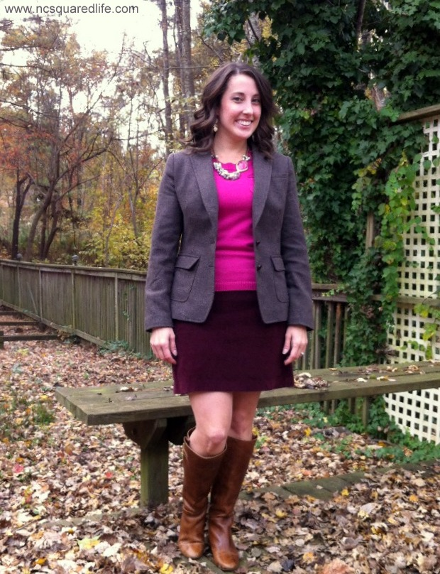 pink sweater, maroon corduroy miniskirt, boots, blazer | NCsquared Life