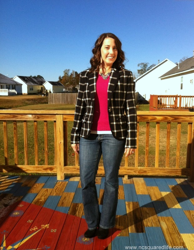 plaid blazer, pink sweater, jeans and booties | NCSquared Life