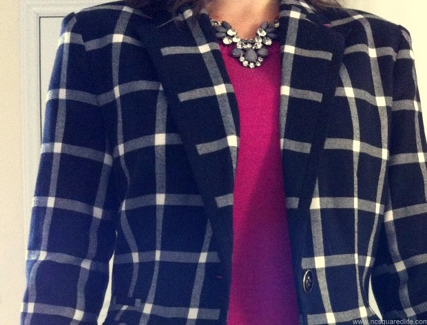 plaid blazer and pink sweater | NCSquared Life