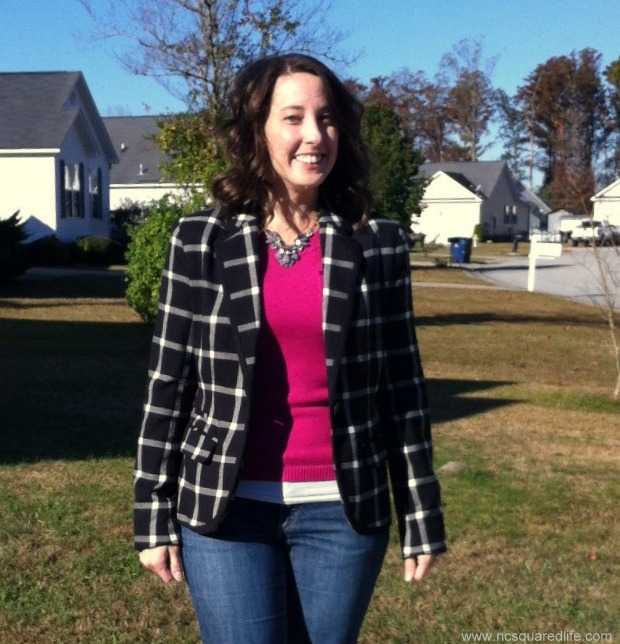 plaid blazer, pink sweater, jeans | NCSquared Life