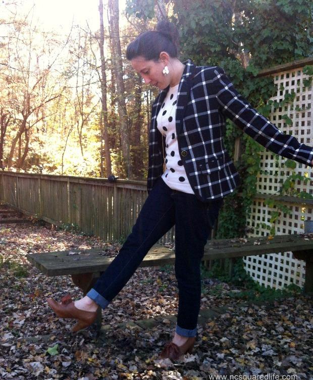 polka dots, plaid blazer, cognac oxfords | NCsquared Life