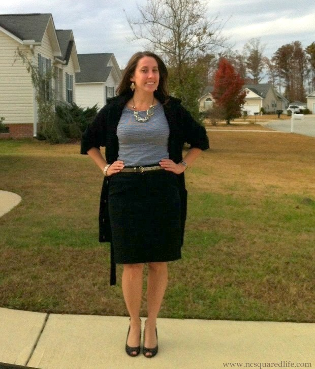 gray stripes, sweater cardigan, black pencil skirt, glitter belt, pearly necklace | NCsquared Life