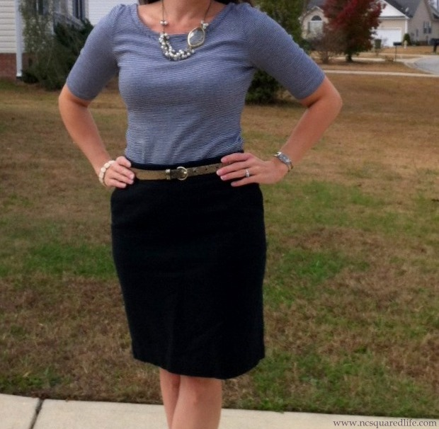 gray stripes, black pencil skirt, glitter belt, pearly necklace | NCsquared Life