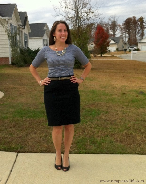 gray stripes, black pencil skirt, glitter belt, pearly necklace   NCsquared Life