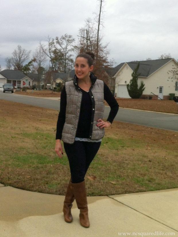 Black sweater, vest, denim, cognac boots | NCsquared Life