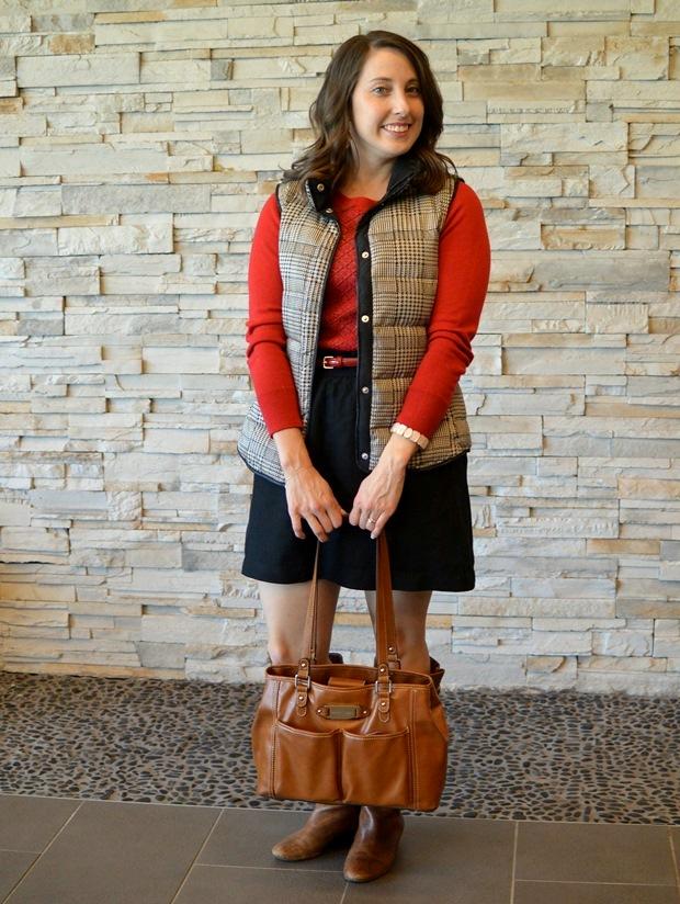 Red Sweater, Vest, Black Skirt   NCsquared Life