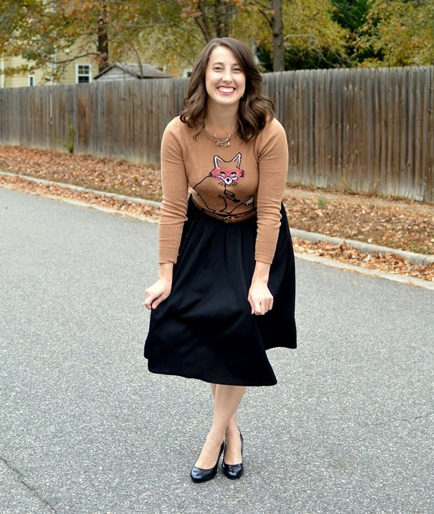 Blooper: Fox Sweater & Midi Skirt | NCsquared Life