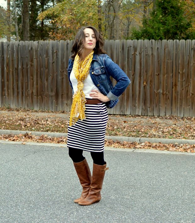 Blooper: Black and white stripe skirt, denim jacket, yellow scarf and boots | NCsquared Life