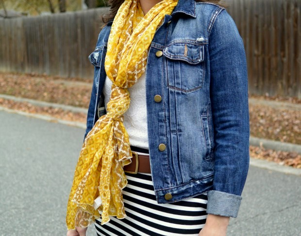Black and white stripe skirt, denim jacket, yellow scarf  | NCsquared Life