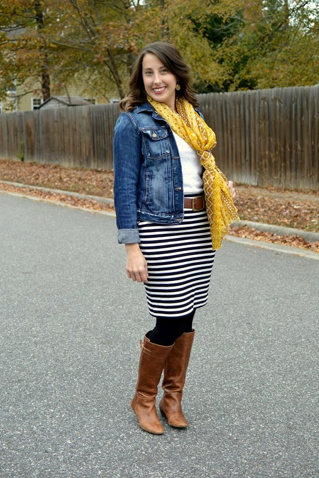 Black and white stripe skirt, denim jacket, yellow scarf and boots | NCsquared Life