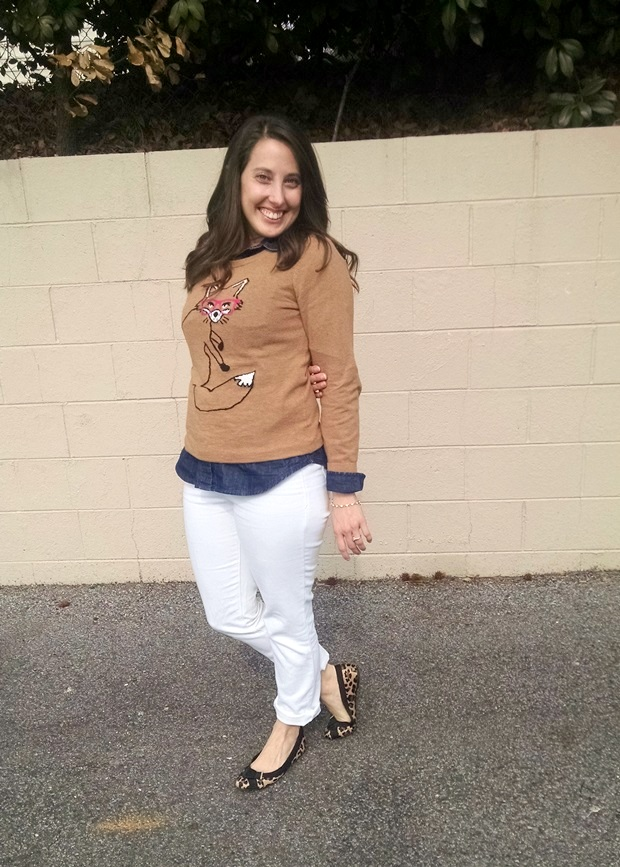 Pinspired: Fox Sweater, Chambray, and White Pants| NCsquared Life