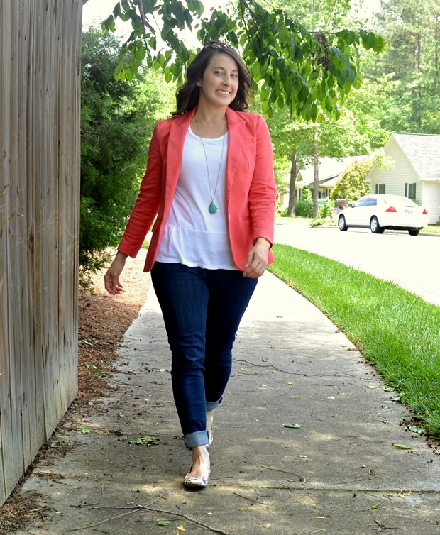 Coral Blazer & Casual Peplum | NCsquared Life